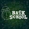 Back to School Chalk Text. Watch Alarm Doodle Dark Green Background