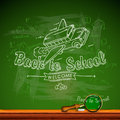 Back to school, chalk-writing on blackboard Royalty Free Stock Photo