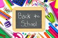 Back To School chalkboard with school supplies frame Royalty Free Stock Photo