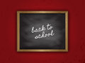 Back to school chalkboard with the words on a grunge red background Stock Image