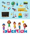 Back to school. Children on the yard. Cartoon vector illustration Royalty Free Stock Photo