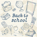 Back to school collection with various study items in cartoon hand drawn style Stock Photos