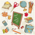 Back to school collection with various study items in cartoon hand drawn style Royalty Free Stock Photos