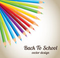 Back to school colored pencils over beige background illustration Royalty Free Stock Photography