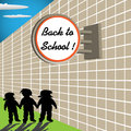Back to school colorful background with three children holding their hands under a signpost with the text Stock Images