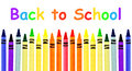 Back to school colorful crayon border with text over white Royalty Free Stock Image