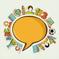 Back to school colorful education icons around social media speech bubble vector layered for easy personalization Royalty Free Stock Photo
