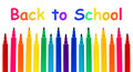 Back to school colorful felt pen border with text over white Royalty Free Stock Images