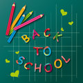 Back to school colorful poster with colored pencils Stock Photos