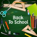 Back to school with colorful school supplies