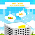 Back to school colorful vector illustration concept building Royalty Free Stock Photo