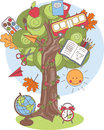 Back to school colorful vector illustration of a tree with supplies Stock Image