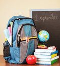 Back to school concept with bag books apple Stock Images