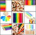Back to school concept collage or set and schoolchildren theme with color pencils Royalty Free Stock Image