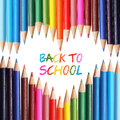 Back to school concept colorful pencils arranged as heart the words back to school written in pencil shape Royalty Free Stock Image