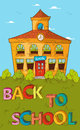 Back to school concept colorful school house education cartoon beautiful building with blue sky and green yard vector layered for Stock Image