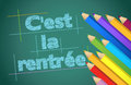 Back to school concept in french illustration design over a chalk board Stock Images