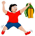 Back to school concept jumping happy boy with bag Royalty Free Stock Photos
