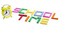 Back to school concept letters made of plasticine and alarm clock as for time Stock Photo