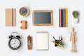 Back to school concept with school supplies organized on white background. Royalty Free Stock Photo