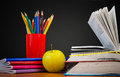 Back to school concept schoolchild and student studies accessories Royalty Free Stock Photography