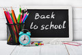 Back to school concept on wooden background Stock Image