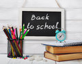 Back to school concept on wooden background Stock Images