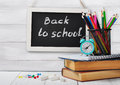Back to school concept on wooden background Royalty Free Stock Photo