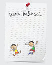 Back to school cute cartoon on notepad with a note that reads and a pin vector file Royalty Free Stock Image