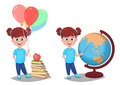 Back to school. Cute girl in casual clothes with helium balloons Royalty Free Stock Photo