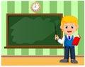 Back to school. Cute schoolchild at the blackboard to presentation