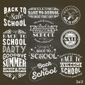 Back to School Design Collection. A set of vintage style Back to School sale and party on Black Chalkboard Background Royalty Free Stock Photo