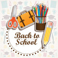 Back to school design over suplies background illustration Stock Image