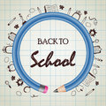 Back to school doodle with blue pencil circle