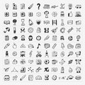 Back to school doodle hand draw icon set cartoon illustration Stock Photo