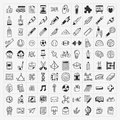 Back to school doodle hand draw icon set cartoon vector illustration Stock Photography