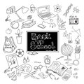 Back to school doodle poster black kit supplies and basic accessories for young scholar abstract vector illustration Stock Photos