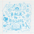 Back to School doodles elements, set of labels and icons. Vector illustration. Royalty Free Stock Photo