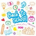 Back To School Draw Kid Cute Cartoon Vector Design Royalty Free Stock Photo