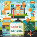 Back to School education banner with book, bus, lamp and education icons. Vector Flat Illustration. School Education
