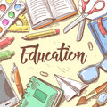 Back to School Education Concept. Hand Drawn Background with Books, Notebook and Pen