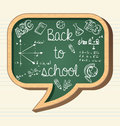 Back to school education icons social bubble chalk wooden chalkboard media speech icon elements illustration vector file layered Royalty Free Stock Images
