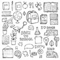 Back to school. Education items. Hand Drawn Doodle school supplies Vector Set. Royalty Free Stock Photo