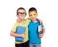 Back to school embrace the twins with books in their hands isolated on white Royalty Free Stock Photo