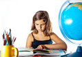 Back to school: finishing summer homework Royalty Free Stock Photo