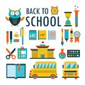 Back to school Flat design icons set isolated on white Part 2