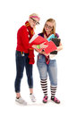Back to school geeky teen students a pair of who look like nerds work together study homework Stock Photography