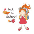Back to school girl with bag goes colorful illustration and text Royalty Free Stock Image