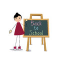 Back to school girl with a board on white background Royalty Free Stock Photography