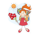 Back to school girl with flowers goes colorful illustration Stock Photography